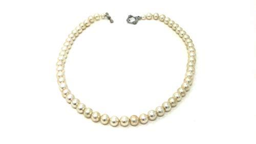 bagusto Halskette aus echten weißen Mallorca Perlen - handgemacht - für alle die Perlen lieben - Schmuck aus schönen Perlen