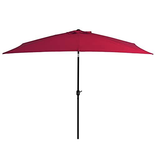 Parasol Rectangular para Terraza con Poste de Acero 38mm, 300 x 200 x 252 cm, Sombrilla con Manivela para Exterior, jardín, Rojo Burdeos