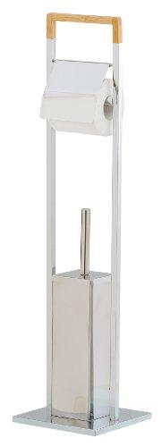 Mondex INX423-00 Serviteur WC Design Métal/Bambou Chromé 18,5 x 18,5 x 75 cm