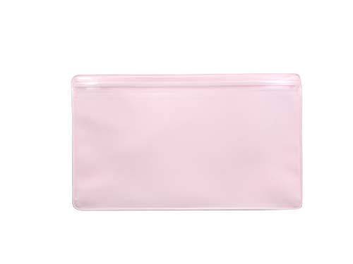 ホークアイ SIAA認証素材 抗菌マスクケース 無地ピンク Wポケット チャック付き 携帯 収納 日本製