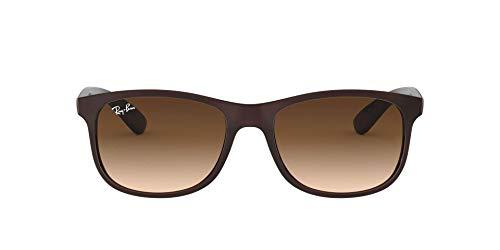 Ray-Ban Unisex Andy Sonnenbrille, Braun (Gestell: Braun, Gläser: Braun Verlauf 607313), Large (Herstellergröße: 55)