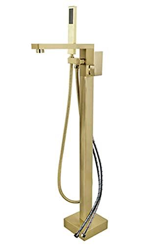 CXSMKP Freestanding Bathtub Faucet Sola manija de Montaje en el Suelo Relleno de latón latón Caliente y frío Agua fría Tapas de baño con Ducha de Mano