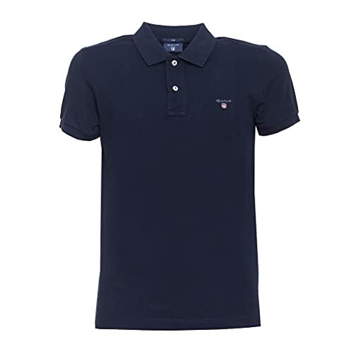 GANT Original Slim Pique SS Rugger Camisa de Polo, Azul Noche, XL para Hombre