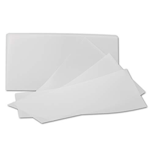 Inlegpapier, transparant-wit, DIN lang zonder vouwen (enkelvoudig inlegger) - hoogwaardig papier met 92 g/m2 50 Stück 110 x 220 mm.