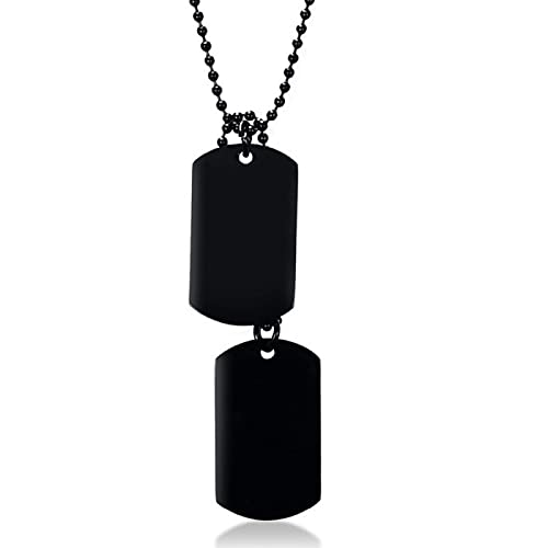 Naswi Un Conjunto de Dos Piezas de los Hombres del ejército Militar de Acero Inoxidable en Blanco Doble Etiqueta de Perro Collar de Cadena de Bolas de 60 cm