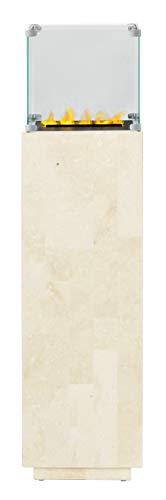 DIMPLEX Isola Stone White Elektrokamin, Weiß poliertes Naturstein- Finish, B 33 x H 130 x T 33 cm