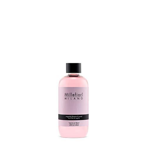 Millefiori Magnolia Blossom und Wood Nachfüllflasche 250 ml für Natural Raumduft Diffuser, Plastik, Rosa, 6 x 5.2 x 13.7 cm