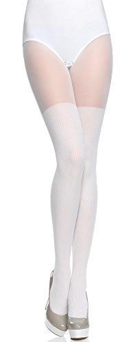 Merry Style Collant Fantaisie à Motif Lingerie Sexy Sous-vêtements Femme MS 387 (Blanc, S)