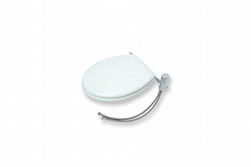Asiento para inodoro con bidet, de madera lacada blanca, con grifo monomando y aireador para la función bidet