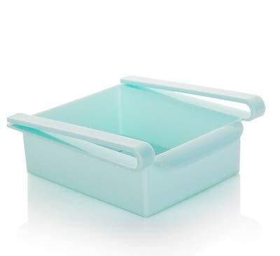 Angelay-Tian Organizador de almacenamiento para nevera, organizador de almacenamiento de refrigerador, organizador de cajones retráctil, organizador de estantes para verduras y frutas (color azul)