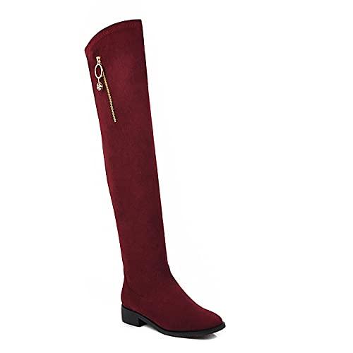 Suede Leather Fashion Round Toe Block T50172 - Botas de invierno para mujer, talla grande (35-44), Rojo vino., 37 EU