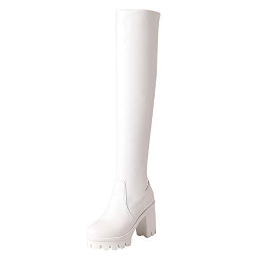Overknee Stiefel Damen Plateau Winterstiefel mit Blockabsatz, Frauen Sockenstiefel High Heels Lang Boots Elegante Schuhe Bequem Winter Warme Damenschuhe Celucke (Weiß, 37 EU)