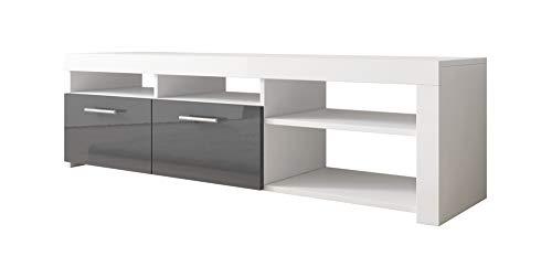 Mueble TV Clio (140x40cm) en Blanco y Gris