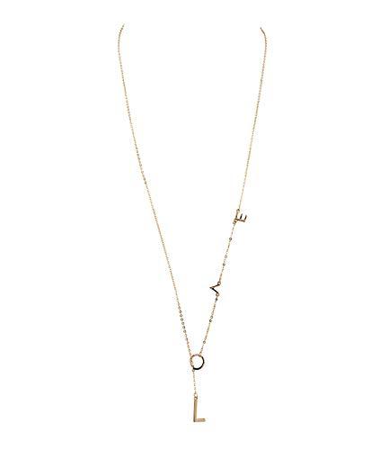 SIX Damen Halskette, Halsschmuck, Panzerkette, Knebelverschlus, Anhänger, Buchstaben, Love, Liebe, längenverstellbar, goldfarben (779-590)
