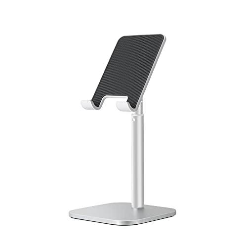ThingyClub - Soporte para tableta con base estable, altura ajustable, compatible con iPad Mini Air Pro 12.9, Kindle, teléfonos celulares (plateado)