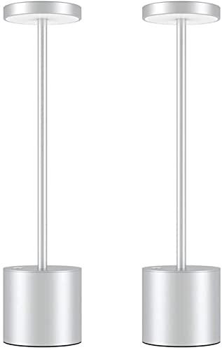 DFGBXCAW Lámpara de Escritorio LED inalámbrica, 6000mAh Lámpara de Mesa Recargable USB portátil con 2 Niveles de Brillo, Luz cálida de aleación de Aluminio, Adecuado para Bares KTV