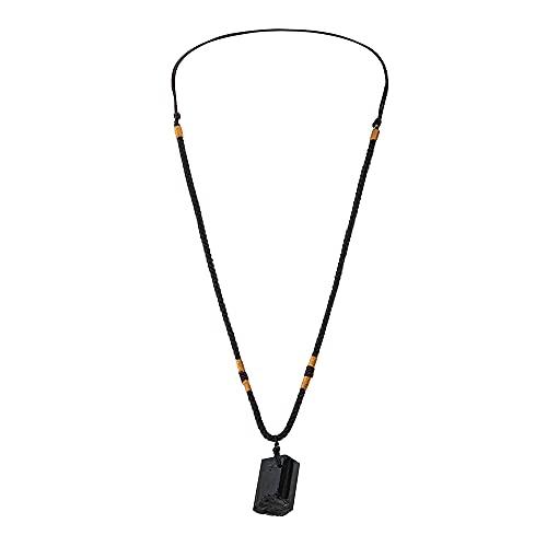 Adaskala Mujeres Hombres Negro Turmalina Natural Piedra Colgante Collar Espécimen de gema de cristal