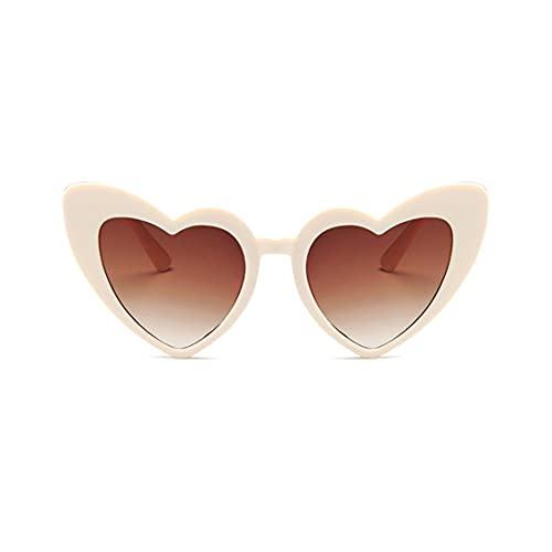 Tree-es-Life Gafas de Sol de Moda con Forma de corazón para Mujer, Gafas de Sol de Ojo de Gato de Lujo para Mujer, Gafas Vintage para Mujer, Hombre, arroz Blanco y leonado