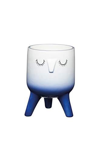 KitchenCraft Ombrè - Maceta decorativa para interiores (10 x 14 cm), diseño de caras, color azul y blanco