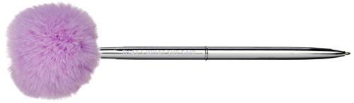 Graphique De Luxe Lavender and Silver Le Pouf Pen - 7' Black Ink - Silver Metal Barrel Twist Pen with Purple, Fluffy Pom-Pom,'That's What She Said' Message - Makes a Beautiful, Unique Gift