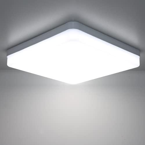 Kimjo LED Lámpara de Techo 36W Blanco Frío 6500K, Plafon LED Techo Modern IP44 Impermeable para Baño, Luz de Techo Cuadrado Delgada para Cocina Dormitorio Sala de Estar Balcón Pasillo Comedor Oficina