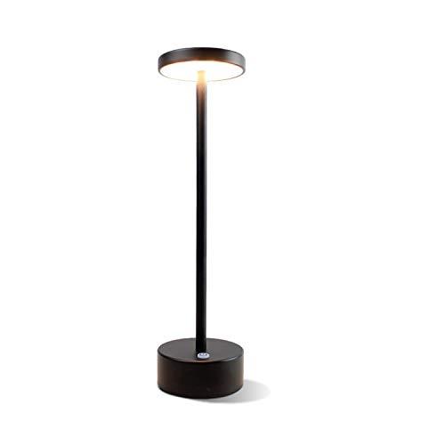ACMHNC 3.5W LED Lámpara de Mesa Recargable Con Batería, Lámpara de mesita Inalámbrica Moderna Para Interiores y Exterior, 2200Mah, IP54 Lámpara de Escritorio Para Restaurante Garden Bar Salon,Negro