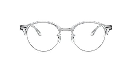 Ray-Ban RX4246V Clubround Round Prescription Eyeglass Frames, White Transparent/Demo Lens, 49 mm