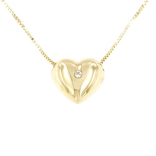 Lucchetta – Cadena con corazón en relieve de oro amarillo de 14 quilates con circonita brillante – 42 cm – Collar de oro para mujer – Fabricado en Italia – XD6085-VE38