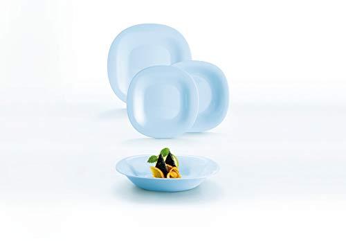 Luminarc Neo Carine Vajilla de Vidrio Opal para 6 Personas, 18 Piezas, Extra Resistente, Azul, Nuevo Modelo