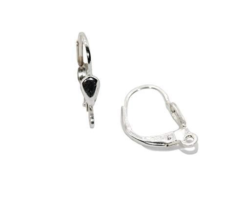 My Home Crystal - Schmuckherstellung Klappbrisur Ohrhänger Ohrhaken Ohrringe in 925/35AG Silber-rhodiniert Juwelierqualität *höchste Qualitätsstufe* - DIY (Brisur mit Öse längs 15.0mm)