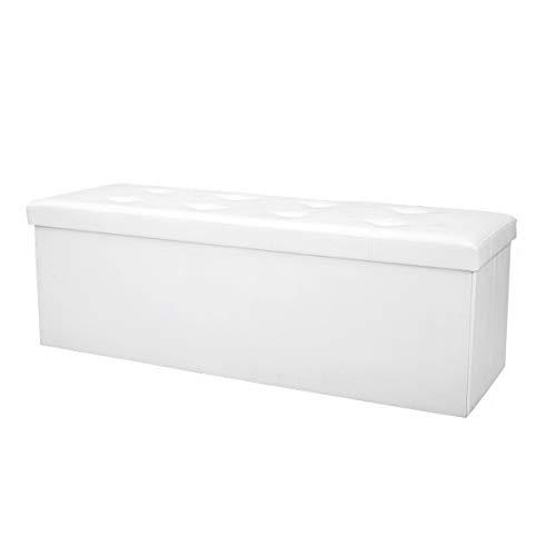 COSTWAY Sitzbank bis 300kg belastbar, Sitzbox Sitzwürfel Bank faltbar, Sitzkasten Polsterhocker Truhe, Sitztruhe PVC-Leder, Aufbewahrungsbox 114 x 38 x 38cm (Weiß) - 6