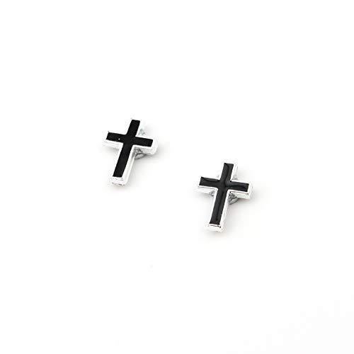 Non-pierced Hoop Earrings,Fake Gauges Magnetic Fake Gauges,Cross,Round,Pentagram,Skull Earrings Studs ((Cross))