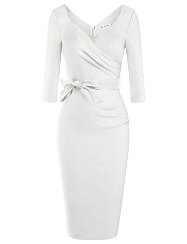 MUXXN Ladies Off White Color Vintage Style Summer Office Business Pencil Dress (White L)