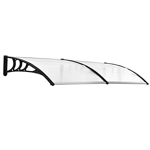 Outsunny Tejadillo de Protección 195x80 cm Marquesina para Puertas y Ventanas contra Sol y Lluvia con Paneles de Policarbonato Barras de Aleación de Aluminio Transparente