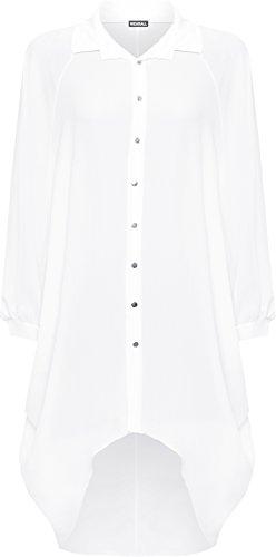 WearAll Damen Übergröße Batwing Hemd Kleid Lang Hülle Tauchen Saum Hi Es Schaltfläche Kragen Damen - Weiß - 52-54