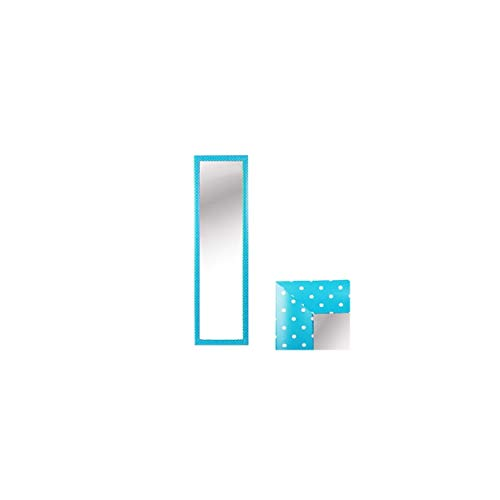 Espejo para Puerta Moderno, Color Azul con Lunares Blancos, para Dormitorio, sin Agujeros (34,7cm X 1,5cm X 125cm) - Hogar y Más