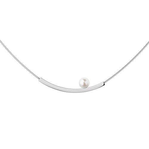 Collar Ernstes Design K818 colgante con perla de acero inoxidable cuerda de alambre
