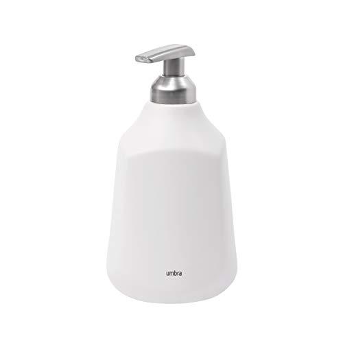 Umbra 1004474-660 Corsa Soap Pump, Seifenspender aus Keramik, Weiß, 384ml Fassungsvermögen