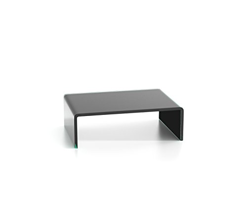 DURATABLE® glazen tafel in zwart 350 mm x 110 mm x 250 mm LCD TV tafel TV opzetstuk monitor tafel TV verhoging glas laptopdesk