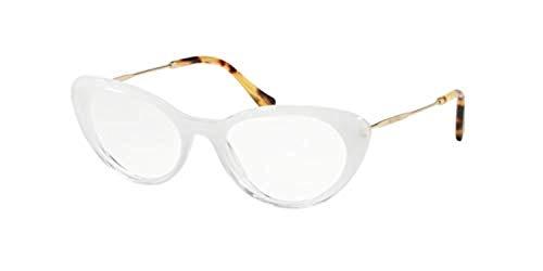 Miu Miu Damen 0MU 05RV Sonnenbrille, White Glitter Grad Transp (1151o1), 53