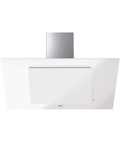 Teka DVT 98660 TBS Campana Decorativa Vertical de 90cm de aspiración perimetral y función FresAir | Cristal Blanco | 38 x 90 x 41.2 | Clase Energética, Normal