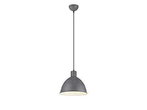 meineWunschleuchte Pendelleuchte im Industrie Look mit Metall Lampenschirm Ø 30cm in Beton/Grau und innen Weiß