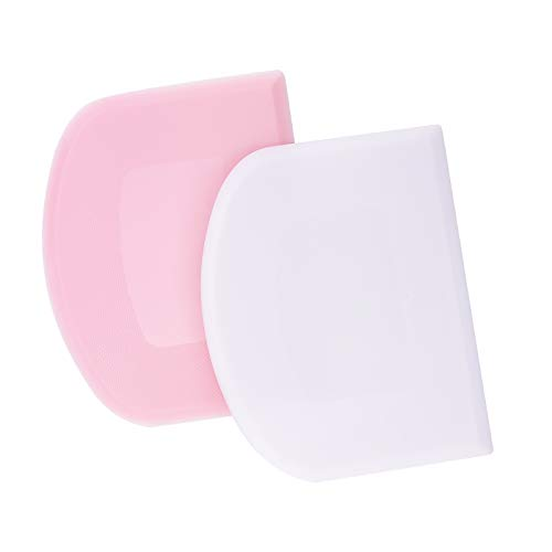 LUTER 2Pcs 4.72x3.74 Inch/12x9.5cm Dough Scraper Plastic Pastry Cutter Bowl Scrapers Dough Bread Cutters Multipurpose Kitchen Tool for Cake Decorating Baking (Pink, White)