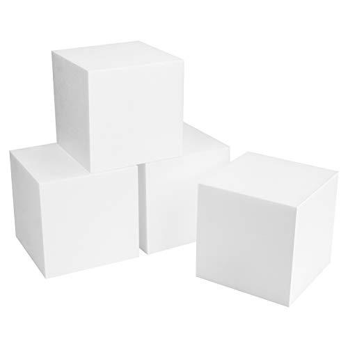Belle Vous Cubo Poliestireno Extruido Blanco (Pack de 4) Cubo Corcho Espuma 15 x 15 x 15 cm - Figuras de Poliespan Cuadradas para Manualidades, Modelado, Aprendizaje Temprano/Recurso Educativo