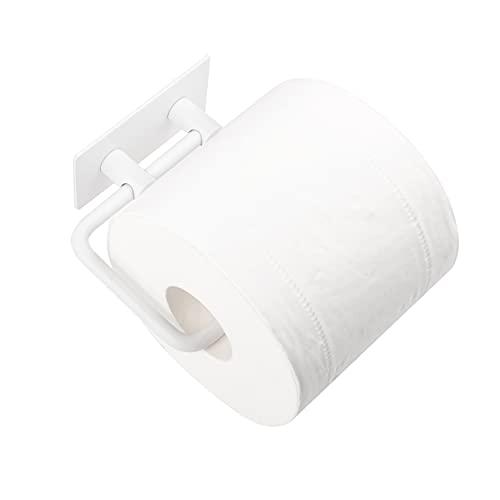 Milti Toilettenpapierhalter ohne Bohren aus gebürstetem Edelstahl 304 - Weiß - Design Klopapierhalter selbstklebend für Ihr Badezimmer - Nie Wieder Bohren - Matter Toilettenrollenhalter mit 3M Kleber