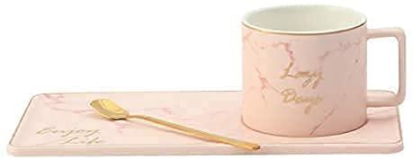 Juegos de té de Porcelana Mate Phnom Penh Taza de mármol Platillo Cerámica Taza de café Plato Traje Té de la Tarde Europeo Taza de té de la Tarde de Estilo inglés