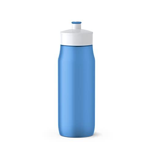 Emsa 518087 Squeeze Sport-Trinkflasche | 0,6 Liter Fassungsvermögen | Ohne BPA | 100% auslaufsicher und spülmaschinengeeignet | Robust und stylisch | Blau/ Weiß
