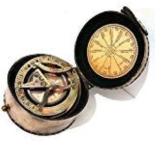 Nagina International, Gilbert Brass Decorative Sundial Compass with Leather Box