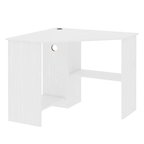 HOMCOM Corner Computer Desk with Storage Shelf, Writing Table Study Workstation for Home Office, White