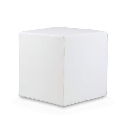 Bepouf Puf Cubo Poltrona Pouf Ecopelle Sgabello Pieno Duro 40X40X40 cm (Bianco)